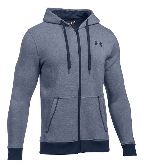 Mens Under Armour Rival EOE Fitted Full-Zip Half-Zips & Hoodies Technical Tops - Midnight Navy XL