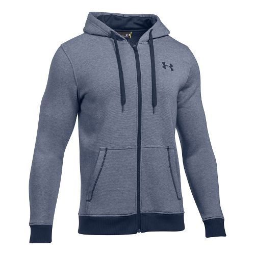 Mens Under Armour Rival EOE Fitted Full-Zip Half-Zips & Hoodies Technical Tops - Midnight Navy ...