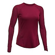 Womens Under Armour Reactor Run Long Sleeve  Technical Tops - Black Currant XS