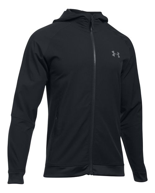 Mens Under Armour Woven Running Jackets - Black/Graphite L