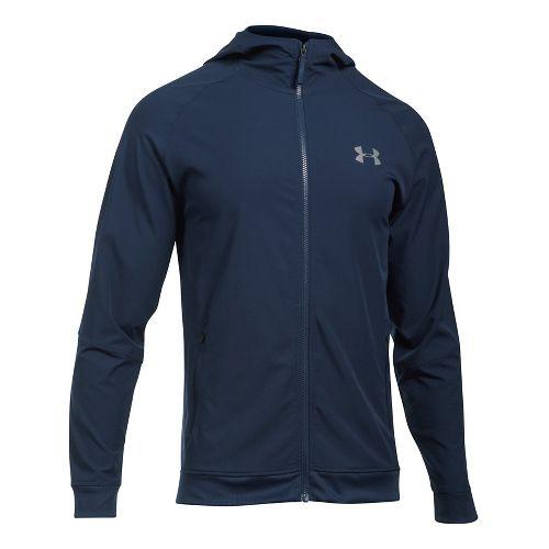 Mens Under Armour Woven Running Jackets - Midnight Navy/Grey XL