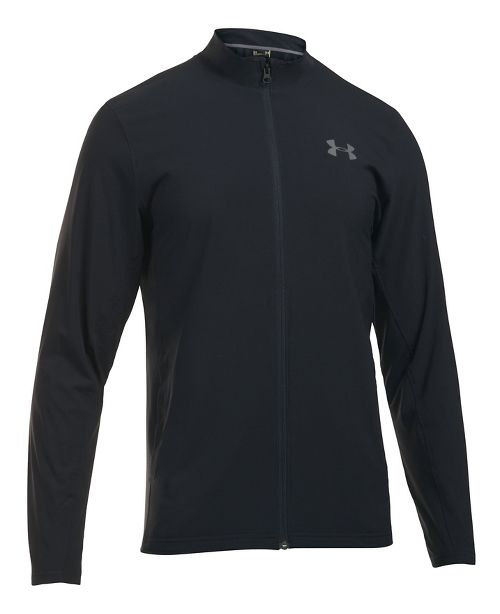 Mens Under Armour Tricot Lined Warm-Up Running Jackets - Black/Black L-T