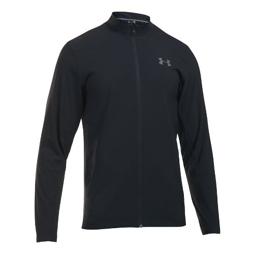 Mens Under Armour Tricot Lined Warm-Up Running Jackets - Black/Black 4XL