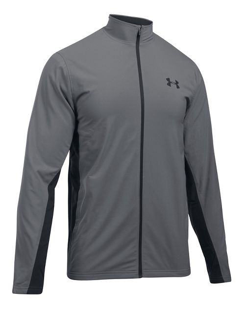Mens Under Armour Tricot Lined Warm-Up Running Jackets - Graphite/Black XXL