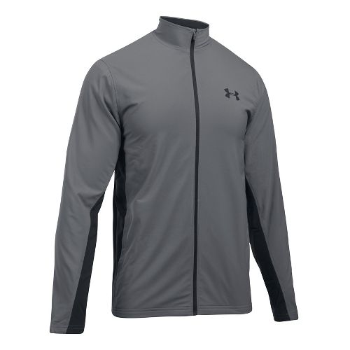 Mens Under Armour Tricot Lined Warm-Up Running Jackets - Graphite/Black XL