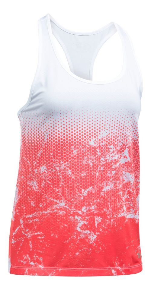 Womens Under Armour Hex Delta Racer Sleeveless & Tank Tops Technical Tops - White/Marathon Red XL
