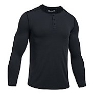 Mens Under Armour Threadborne Fitted Knit Henley Long Sleeve Technical Tops - Black 3XL