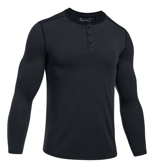 Mens Under Armour Threadborne Fitted Knit Henley Long Sleeve Technical Tops - Black S