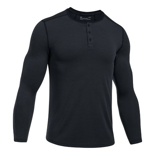 Mens Under Armour Threadborne Fitted Knit Henley Long Sleeve Technical Tops - Black XL