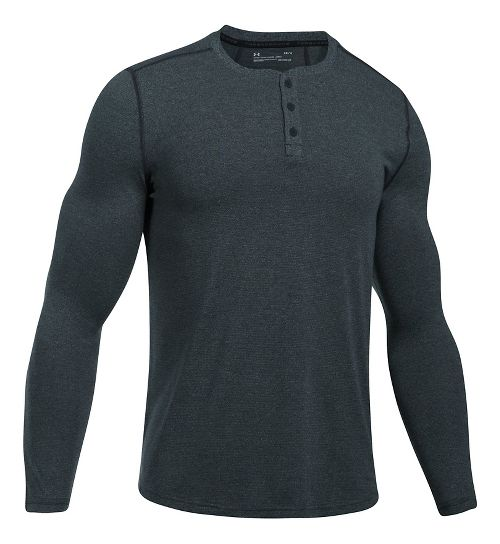 Mens Under Armour Threadborne Fitted Knit Henley Long Sleeve Technical Tops - Anthracite XXL