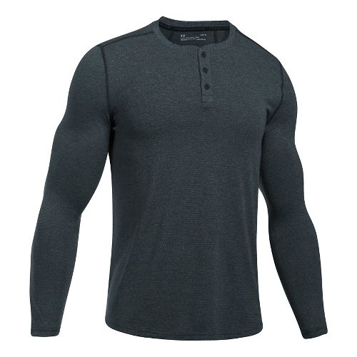Mens Under Armour Threadborne Fitted Knit Henley Long Sleeve Technical Tops - Anthracite L