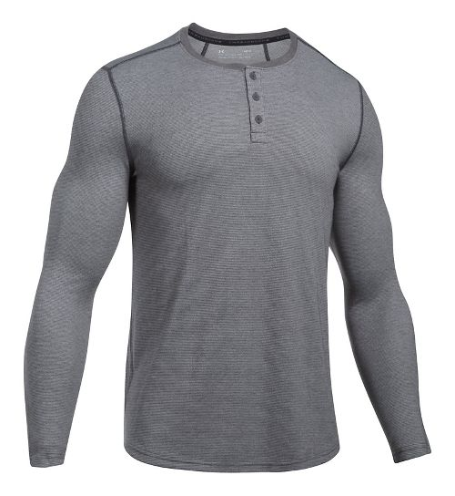 Mens Under Armour Threadborne Fitted Knit Henley Long Sleeve Technical Tops - Carbon Heather L