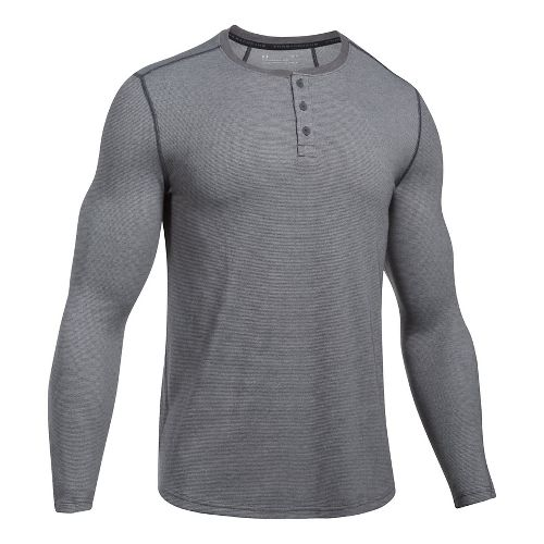 Mens Under Armour Threadborne Fitted Knit Henley Long Sleeve Technical Tops - Carbon Heather S