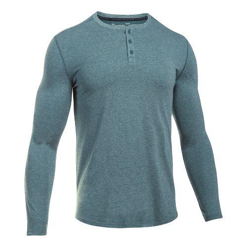 Mens Under Armour Threadborne Fitted Knit Henley Long Sleeve Technical Tops - Arden Green XXL