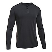 Mens Under Armour Threadborne Knit Henley Long Sleeve Technical Tops