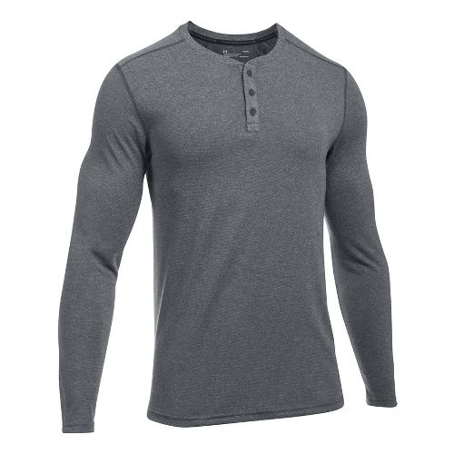 Mens Under Armour Threadborne Knit Henley Long Sleeve Technical Tops - Anthracite L