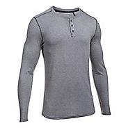 Mens Under Armour Threadborne Knit Henley Long Sleeve Technical Tops