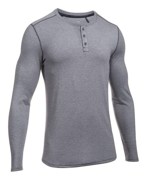 Mens Under Armour Threadborne Knit Henley Long Sleeve Technical Tops - Carbon Heather M
