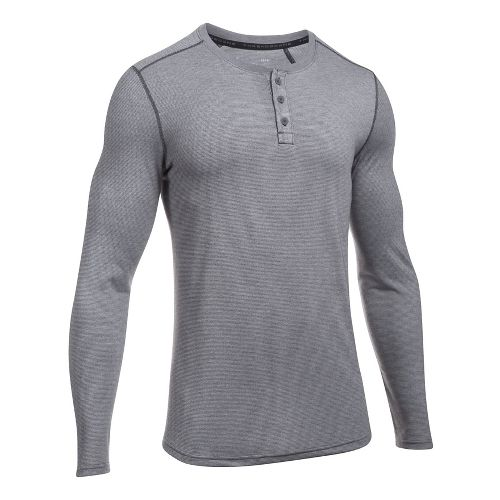 Mens Under Armour Threadborne Knit Henley Long Sleeve Technical Tops - Carbon Heather XL