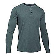 Mens Under Armour Threadborne Knit Henley Long Sleeve Technical Tops - Arden Green L