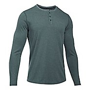 Mens Under Armour Threadborne Knit Henley Long Sleeve Technical Tops - Arden Green M