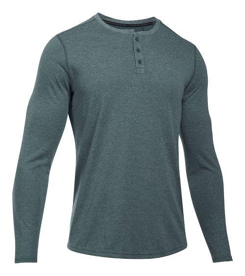Mens Under Armour Threadborne Knit Henley Long Sleeve Technical Tops - Anthracite 3XL