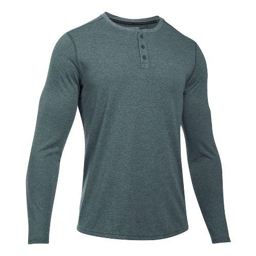 Mens Under Armour Threadborne Knit Henley Long Sleeve Technical Tops - Black XXL