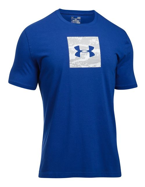 Mens Under Armour Camo Boxed Logo Short Sleeve Technical Tops - Royal/White L