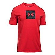 Mens Under Armour Camo Boxed Logo Short Sleeve Technical Tops