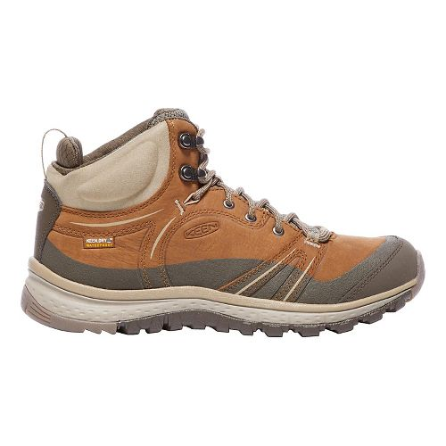 Womens Keen Terradora Leather Mid WP Hiking Shoe - Timber/Cornstalk 7