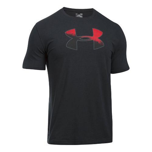 Mens Under Armour Gradient Big Logo Short Sleeve Technical Tops - Black/Red L