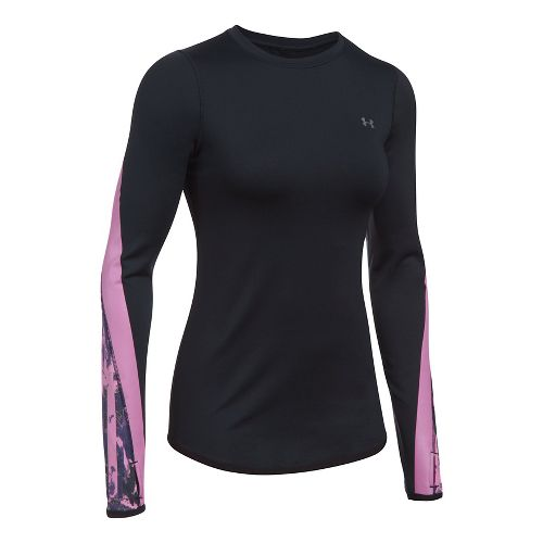 Womens Under Armour ColdGear Graphic Crew Long Sleeve Technical Tops - Black/Icelandic Rose M