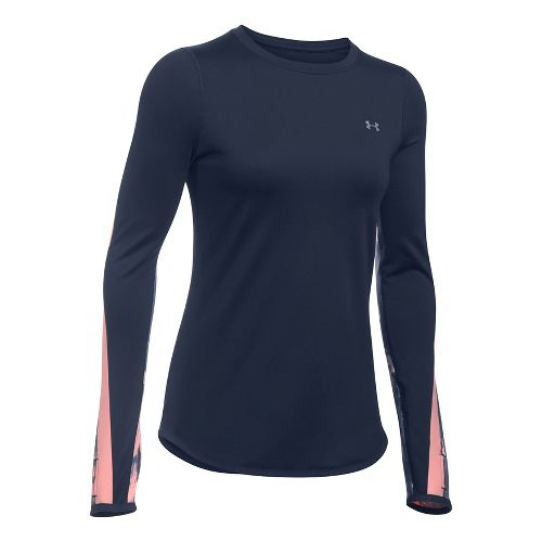 Womens Under Armour ColdGear Graphic Crew Long Sleeve Technical Tops - Midnight Navy/ Pink XL