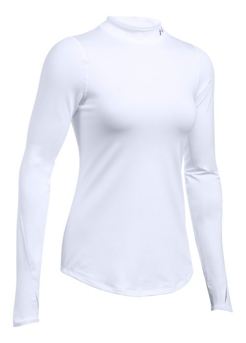 Womens Under Armour ColdGear Fitted Mock Long Sleeve Technical Tops - White XS