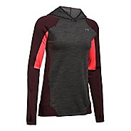 Womens Under Armour ColdGear PO Hoodie  Technical Tops - Carbon Heather S