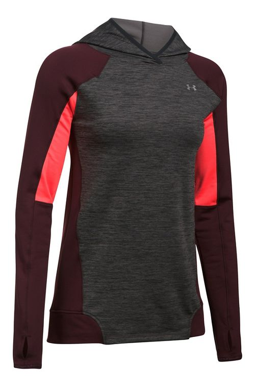 Womens Under Armour ColdGear PO Hoodie  Technical Tops - Carbon Heather M