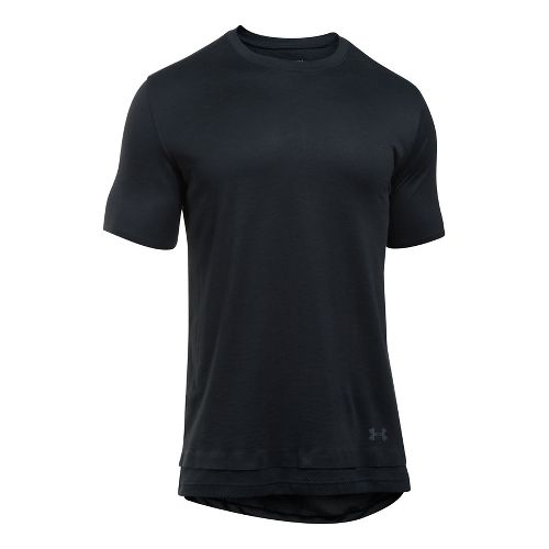 Mens Under Armour SS The Layered Tee Short Sleeve Technical Tops - Black/Black S