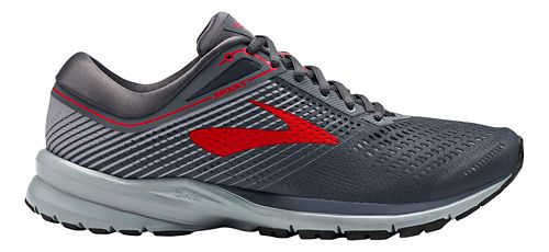Mens Brooks Launch 5 Running Shoe - Ebony/Grey/Red 11.5