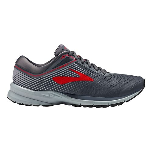 Mens Brooks Launch 5 Running Shoe - Ebony/Grey/Red 9