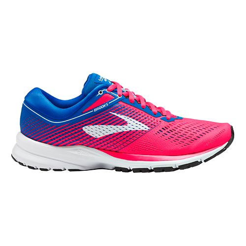 Womens Brooks Launch 5 Running Shoe - Pink/Blue/White 10.5