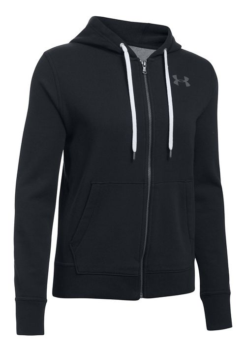 Womens Under Armour Favorite Fleece Full-Zip Half-Zips & Hoodies Technical Tops - Black XS