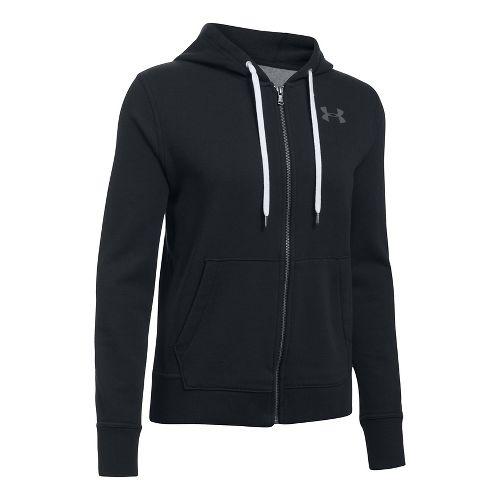 Womens Under Armour Favorite Fleece Full-Zip Half-Zips & Hoodies Technical Tops - Black L