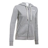 Womens Under Armour Favorite Fleece Full-Zip Half-Zips & Hoodies Technical Tops - True Grey XL