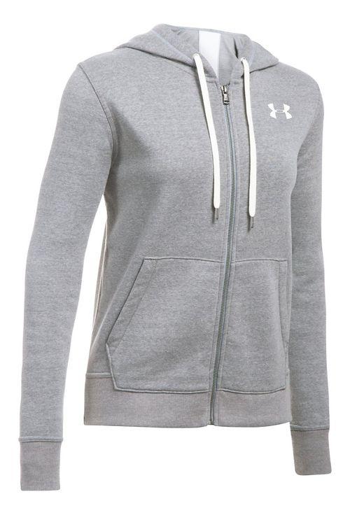 Womens Under Armour Favorite Fleece Full-Zip Half-Zips & Hoodies Technical Tops - True Grey M