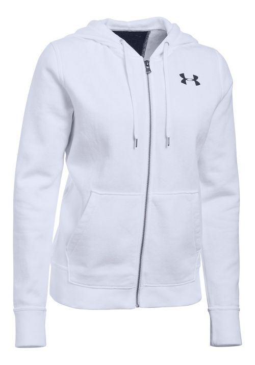 Womens Under Armour Favorite Fleece Full-Zip Half-Zips & Hoodies Technical Tops - White/Black XXL
