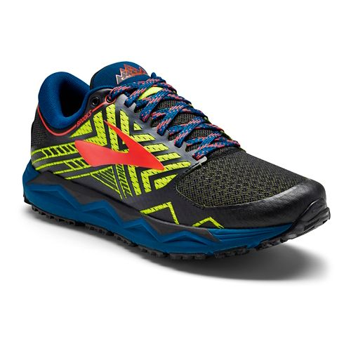 Mens Brooks Caldera 2 Trail Running Shoe - Black/Neon 10.5
