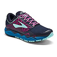 Womens Brooks Caldera 2 Trail Running Shoe - Navy/Plum 5.5