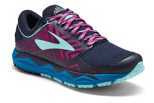 Womens Brooks Caldera 2 Trail Running Shoe - Navy/Plum 11