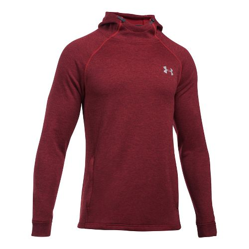 Mens Under Armour Tech Terry Fitted PO Half-Zips & Hoodies Technical Tops - Red L