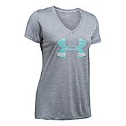 Womens Under Armour Tech V Neck-Graphic Short Sleeve Technical Tops
